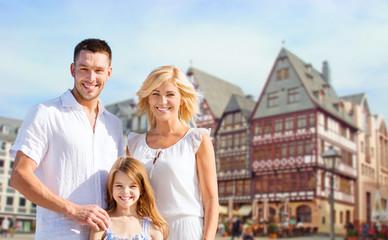 happy family over frankfurt am main background