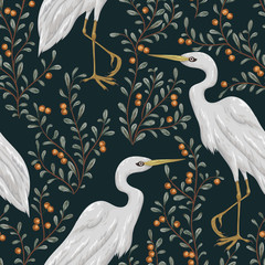 Seamless pattern with heron bird and cranberry plant. Rustic botanical background. Vintage hand drawn vector illustration in watercolor style - 164080432