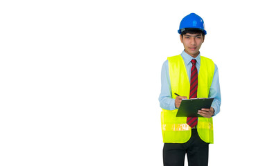 Young engineering with helmet , Vest and report onwhite background.