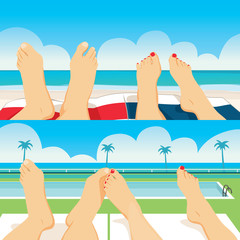 Close up illustration of summer vacation female and male couple feet relaxing in beach ocean and pool tanning at tropical vacation