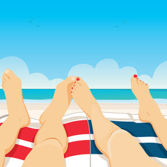 Close up illustration of young couple feet relaxing on towel beach vacation