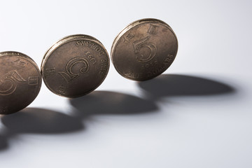 Coins standing