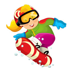 Cartoon snowboarder - girl - illustration for the children