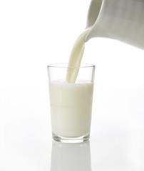 Milchglas wird eingeschenkt