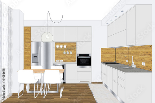 48D Illustration Modern Creative Kitchen Design In Light Interior Impressive Creative Kitchen Design Design