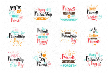 Happy Friendship Day Logo Set Greeting Cards Collection Friends Holiday Banner Vector Illustration