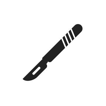 Medical scalpel vector icon. Hospital surgery knife sign illustration.