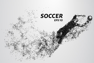 Soccer of the particles carries in the wind. Silhouette of a soccer player from circles