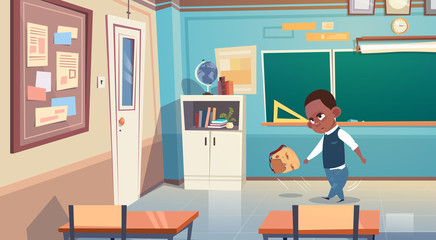 Small School Boy In ClassRoom, African American Elementary Class Student Flat Vector Illustration