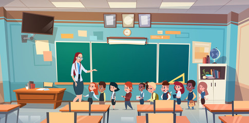 School Children Group With Teacher In Classroom Over Green Board Flat Vector Illustration