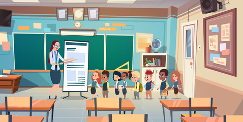 School Children Group With Teacher In Classroom Studying Flat Vector Illustration