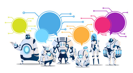 Modern Robot Set With Chat Bubbles Artificial Intelligence Technology Flat Vector Illustration