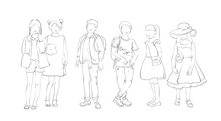 Fashion Collection Of Clothes Set Of Models Wearing Trendy Clothing Sketch Vector Illustration