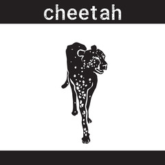 Cheetah In Grunge Style Silhouette Hand Drawn Animals Vector Illustration