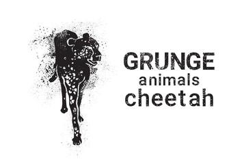 Cheetah In Grunge Style Silhouette Hand Drawn Animals Vector Illustration