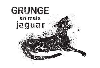 Jaguar In Grunge Style Silhouette Hand Drawn Animal Vector Illustration