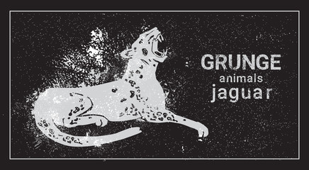 Jaguar In Grunge Style Silhouette Hand Drawn Animal Vector Illustration