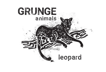 Leopard In Grunge Style Silhouette Hand Drawn Animal Vector Illustration