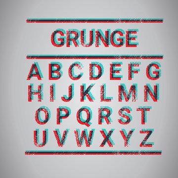 Grunge Alphabet Capital Letters Collection Text Font Set Vector Illustration