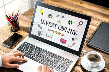 Invest Online Concept On Laptop Monitor