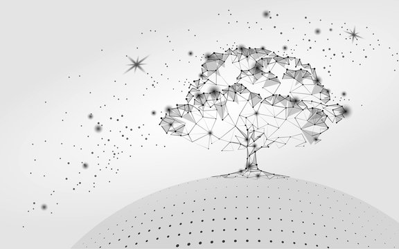 Polygonal tree gray white sky background. Abstract Earth eco globe concept. Connected dot line point art life root vector illustration