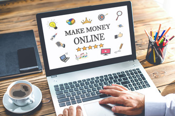 Make Money Online Concept On Laptop Monitor