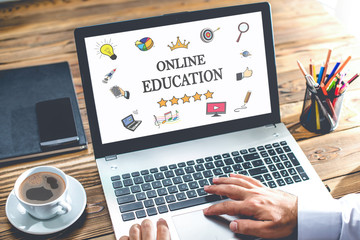 Online Education Concept On Laptop Monitor