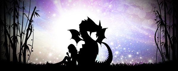 Friends for life, girl and her dragon silhouette art photo manipulation