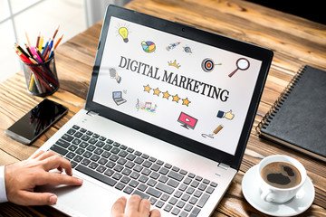 Digital Marketing Concept On Laptop Monitor