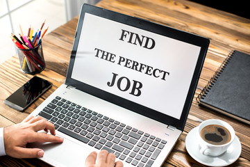 Find The Perfect Job Concept On Laptop Screen In Office