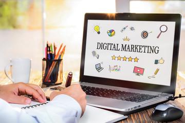 Digital Marketing Concept On Laptop Monitor