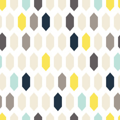 Mosaic tiles ornament seamless vector pattern. Gray and yellow geometric abstract repeat background.