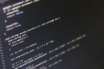 C++ source code on a computer display