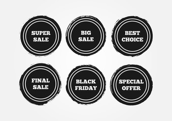 Set of round grunge stickers. Final Big Super Sale, Black Friday, Special Offer, Best Choice.