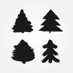 Set of abstract silhouettes of Christmas trees painted with a rough brush. Grunge, sketch, ink, paint, watercolor. Four isolated symbols, signs, logos, icons.