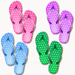 Set of realistic beach slippers on a white background. Isolated Vector Illustration 3d