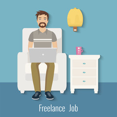 Freelance man working at the computer at home. Vector illustration. Freelance man sitting on the cozy armchair with laptop. Freelance job. Flat design.