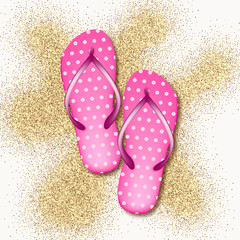 Realistic 3D pink in pea beach slippers on a white background with sand. Vector illustration