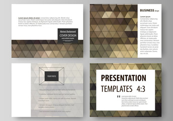 Set of business templates for presentation slides. Easy editable vector layouts in flat design. Abstract multicolored backgrounds. Geometrical patterns. Triangular and hexagonal style.