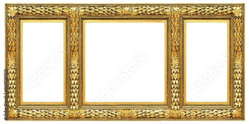 Gold frame of three parts (triptych) on a white background for ...