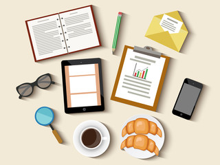 Concept of  business meeting coffee break with digital tablet, smartphone, papers and various office objects. Vector illustration. Flat design