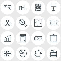 Vector Illustration Of 16 Business Icons. Editable Pack Of Building, Columns, Magnifier And Other Elements.