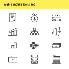 Vector Illustration Of 12 Business Icons. Editable Pack Of Calculate, Portfolio, Tactics And Other Elements.