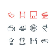Vector Illustration Of 12 Cinema Icons. Editable Pack Of Clapper, Hall, Reward And Other Elements.