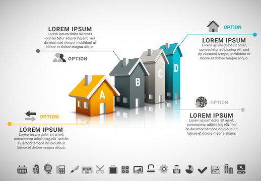3D House Bar Graph Infographic 2