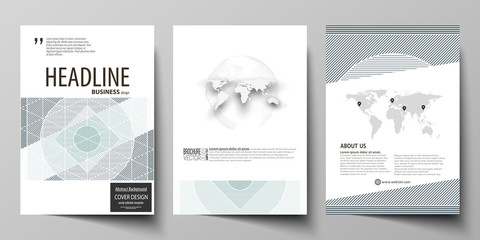 Business templates for brochure, flyer, report. Cover design template, abstract vector layout in A4 size. Minimalistic background with lines. Gray color geometric shapes forming beautiful pattern.