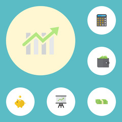 Flat Icons Bar Diagram, Money Box, Growing Chart And Other Vector Elements. Set Of Finance Flat Icons Symbols Also Includes Money, Billfold, Piggy Objects.