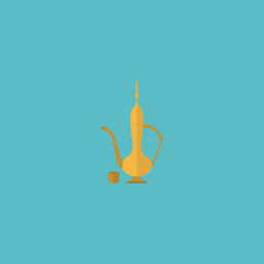 Flat Icon Oriental Jug Element. Vector Illustration Of Flat Icon Pitcher Isolated On Clean Background. Can Be Used As Oriental, Jug And Pitcher Symbols.