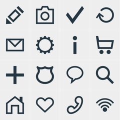 Vector Illustration Of 16 Interface Icons. Editable Pack Of Heart, Wheelbarrow, Pen And Other Elements.