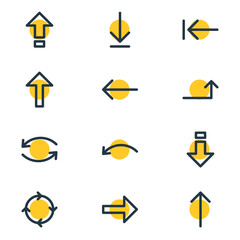 Vector Illustration Of 12 Direction Icons. Editable Pack Of Shrift, Upwards, Right And Other Elements.